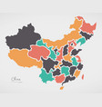 china map with states and modern round shapes vector image