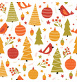 christmas birds ornaments and trees seamless vector image