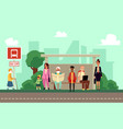 city bus stop with people waiting on sidewalk vector image vector image