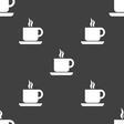 coffee icon sign Seamless pattern on a gray vector image
