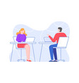 colleagues at workplace man and woman in office vector image