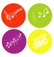 color icon set with notes and treble clef vector image vector image