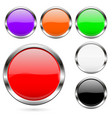 colored buttons set shiny 3d glass round icons vector image vector image