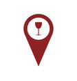 gps icon with glass of wine vector image vector image
