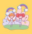 happy valentines day cute cupids cartoon hearts vector image vector image