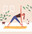 happy yogini enjoying training on mat at home vector image vector image