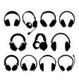 headphone silhouettes vector image