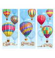hot air balloon sketch banner for travel design vector image vector image