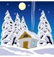 House in wood in winter vector image