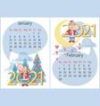 january february 2021 calendar funny calf vector image vector image