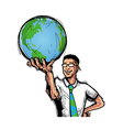 man holding globe vector image vector image
