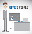Nerd Employment Character and His Work table vector image