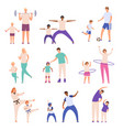 parents and children doing sport father and son vector image