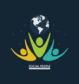 pictogram people with earth globe concept social vector image vector image