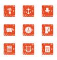 port economy icons set grunge style vector image vector image