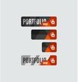 Portfolio button futuristic hi-tech UI design vector image