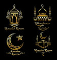 ramadan kareem golden logo set vector image