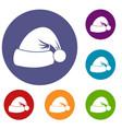 santa hat icons set vector image vector image