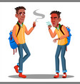 smoking and sneezes coughsyoung student with vector image