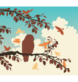 Songbirds mobbing owl vector image vector image