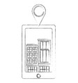 tablet device with buildings structures and pin vector image