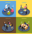 teamwork collaboration isometric concept vector image