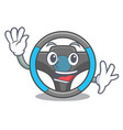 waving steering wheel in the character shape vector image vector image