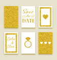 wedding invitation set of gold design vector image