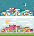 winter and summer landscape with city houses flat vector image