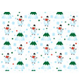 winter pattern with snowflakes and snowmen winter vector image