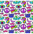 Cute fashioned patches with eye and pink mustache vector image