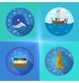 Sea theme flat icons vector image