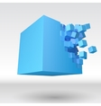3D cube explosion with cubical particles vector image vector image