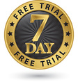 7 day free trial golden label vector image