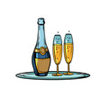 a bottle champagne with glasses on tray vector image