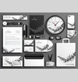 abstract black and white business stationery set vector image vector image