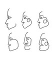 abstract one line face profile collection vector image