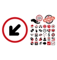 Arrow Down Left Flat Icon with Bonus vector image vector image