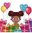 birthday girl with gifts and balloons vector image vector image