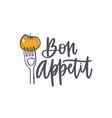 bon appetit phrase handwritten with cursive vector image
