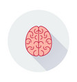 brain icon on round background vector image vector image