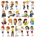 Business people doing different activities vector image vector image