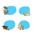 cartoon sea pirates stickers vector image vector image