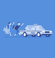 chasing a taxi cab vector image vector image