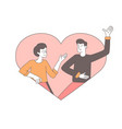 couple in love outline happy vector image vector image