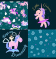 cute unicorn seamless pattern magic pegasus vector image vector image