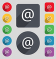 E-Mail icon sign A set of 12 colored buttons and a vector image