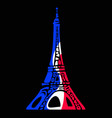 eiffel tower in colors of flag of france in vector image