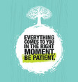 everything comes to you in the right moment be vector image vector image