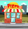 Flat pizza shop cartoon building or pizzeria